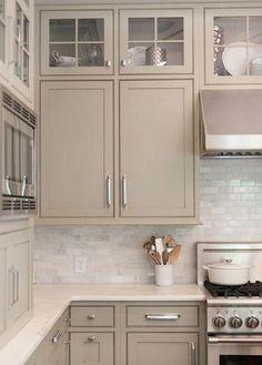 Neutral Kitchen Cabinets, Kitchen Cabinet Design, Kitchen Paint, Kitchen Interior, Kitchen Backsplash, Dark Cabinets, White Cupboards, Neutral Kitchen Colors, Repainting Kitchen Cabinets