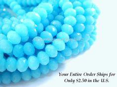 50 Aqua Glass Bead Rondelles Opaque by allearringsandsuppli