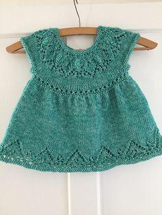 Ravelry: sarmos' Anya dress for Gabriela. SuzieSprakles Anya Dress Knitting Pattern.  Baby dress knitting pattern, girls dress knit pattern, top down knitting, seamless knitting, one piece.