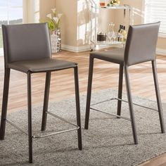 Crawford Modern Brown Faux Leather Upholstered Bar Stool 2-Piece Set