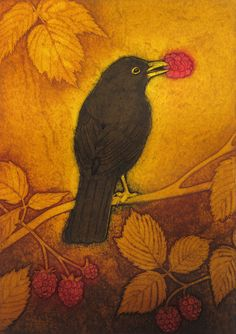 The Raspberry Thief an original limited edition collagraph by Hester Cox Yellow Art, Yellow Painting, Art And Illustration, Dark Wings, Collagraph, Crows Ravens, Soul Art, Bird Art, Illustrators