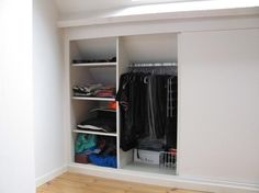 Storage idea for the attic. Eaves Storage, Loft Storage, Bedroom Storage, Storage Spaces, Ceiling Storage, Make A Closet, Walk In Closet, Attic Bedrooms, Home Bedroom