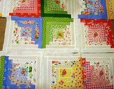 Love these log cabin blocks with the PKM fabrics! Colchas Quilting, Quilting Projects, Quilting Designs, Sewing Projects, Sewing Tips, Patchwork Quilt, Scrappy Quilts, Log Cabin Designs, Log Cabin Quilts