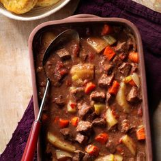 Hearty Baked Beef Stew An easy way to make a wonderful beef stew. Don't brown the meat first—just combine it with hearty chunks of carrots, potatoes and celery and let it all cook together. Baked Beef Stew Recipe, Oven Beef Stew, Beef Recipes, Cooking Recipes, Oven Cooking, Quick Recipes, Quick Meals, Soup Recipes, Xmas