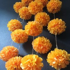 MARIGOLD flower pompom garland gold yellow orange dia de los muertos rustic fall theme wedding engagement birthday baby shower decoration is part of Wedding themes fall MARIGOLDS pompom garland kit - Day Of The Dead Diy, Day Of The Dead Party, Diwali Decorations, Flower Decorations, Halloween Decorations, Orange Party, Diwali Craft, Marigold Flower, Tissue Paper Flowers
