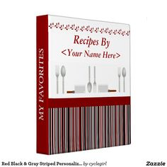 Red Black & Gray Striped Personalized Recipe Binder