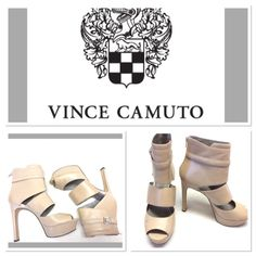 "nude leather Vince Camuto bootie heels size 9.5 These leather heels are super hot! They feature 5.25"" heel with 1.25"" platform, zip back,  and silver buckle detail. Stains to left toe as pictured. Minimal scuffing. They have been only worn once and are otherwise in great shape! They are the epitome of sexy! Vince Camuto Shoes Heels"