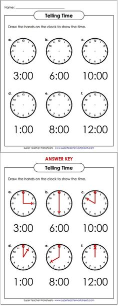 Draw the hands on the clock faces to practice telling time.