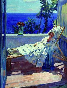 Serghei Vinogradov Arsenyevich - La dame au balcon de 1916
