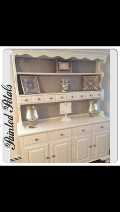 Painted Ethan Allen Hutch In Cececaldwells Simply White
