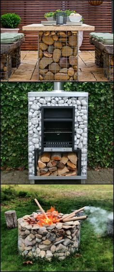 First, they were garden walls and fences. But now more and more homeowners are starting to build other things with gabions. And it makes complete sense! Not only are gabions easier to build than concrete, they could also be a cheaper option if you have a Outdoor Fire, Outdoor Areas, Outdoor Decor, Outdoor Living, Landscape Design, Garden Design, House Design, Gabion Wall, Gabion Fence