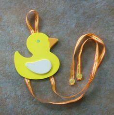 yellow duck girls barrette bow hair accessories by SEWandREAP