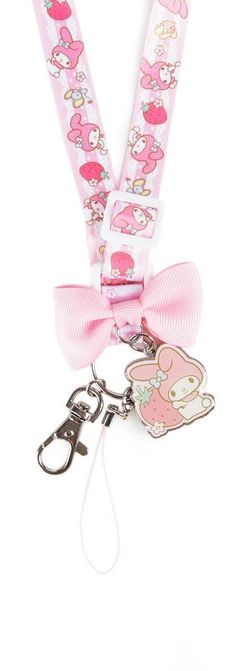 Keep your keys secure, and your style cute, with this My Melody lanyard/key leash. This set features a key ring, My Melody metallic and enamel filled charm, and a lobster claw clip on a sweet adjustable lanyard.