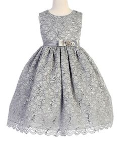 Look at this Crayon Kids Silver Bow Sleeveless A-Line Dress - Toddler & Girls on #zulily today!
