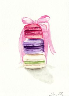 Stylish New Obsession: Watercolor - Bilder - Macarons Watercolor Food, Watercolor Paintings, Watercolour, Food Illustrations, Illustration Art, Food Drawing, Food Art, Art Drawings, Artsy