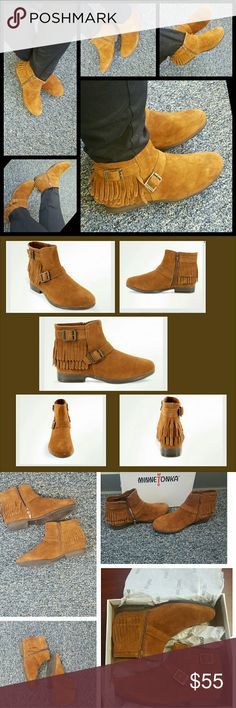 """🎉NEW LISTING🎉Minnetonka Rancho Boots 8.5 Super cute, super versatile Minnetonka Rancho style ankle boots. Color is brown suede and features a 3/4"""" heel. Boots are adorned with 2 layers of fringe and side buckle adornment. Worn once in a rug covered office for 1 hour. These are sure to be one of your favorite pieces to be dressed up or down?? Minnetonka Shoes Ankle Boots & Booties"""