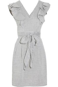 Thread Social Ruffled linen-blend seersucker dress
