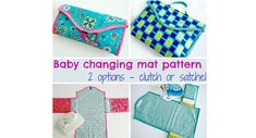 Deby from So Sew Easy shares a free pattern for making a travel baby changing mat that folds into either a clutch or a satchel. The changing mat has pockets on either side to hold a pack of wipes…