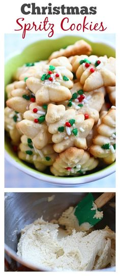 Spritz Cookies – BEST, buttery, melt-in-your-mouth crumbliest Christmas Spritz cookies ever! Super easy recipe that anyone can bake this holiday season Best Christmas Cookies, Christmas Sweets, Noel Christmas, Fun Cookies, Holiday Cookies, Super Cookies, Christmas Goodies, Tea Cakes, Holiday Baking
