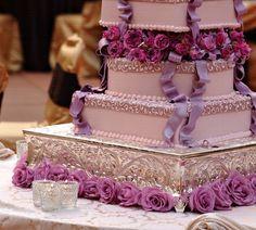 purple wedding cake, love it but I'm not a fan of the purple. Glitz Wedding, Hotel Wedding, Dream Wedding, Wedding Day, Wedding Stuff, Wedding Dress, Lilac Wedding Colors, Purple Wedding Cakes, Beautiful Wedding Cakes