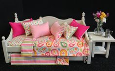 Pink Paisley Daybed with trundle for 18 in by BedsandThreads