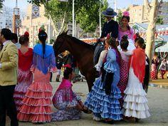 Feria de Abril in Sevilla, Spain Gypsy, Victorian, Boho, Places, Travel, Dresses, Fashion, Flamingo, Vestidos
