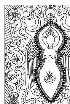 Coloring Book Page Goddess Art Inanna Print Divine Feminine Altar Pagan