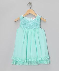 Take a look at this Aqua Floral Ruffle Dress - Toddler & Girls by Paulinie on #zulily today!