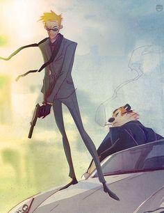 Secret Agent Calvin Hobbes. i love when they redo calvin and hobbes