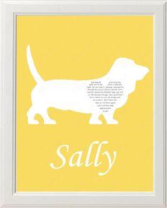 Personalized Basset Hound Dog Silhouette Rainbow Bridge Pet Memorial Love Poem…