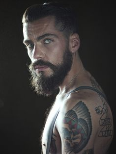 bearded men with beautiful eyes | photography hair tan tattoos dark inked tattoo man beard green eyes