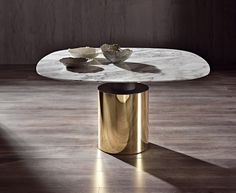 MODERN FURNITURE | gold and marble dining table | bocadolobo.com/ #luxuryfurniture #designfurniture