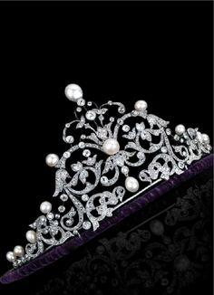 An antique or antique style gold, diamond and natural pearl tiara.