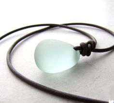 Leather Sea Glass Necklace Seaglass Aqua by BellinaCreations, $35.00
