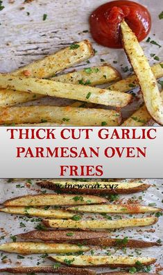 Thick Cut Garlic Parmesan Oven Fries Healthy Cooking, Healthy Eating, Cooking Recipes, Healthy Recipes, I Love Food, Good Food, Yummy Food, Veggie Dishes, Food Dishes