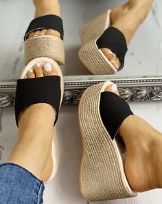 Black Espadrille low wedge platform sandals Ankle Tie Strap, Flat Comfortable to Wear year round. Hell height inches<br />Avoid contact with water. If they become wet let them dry in the shade. Low Heel Sandals, Black Wedge Sandals, Black Espadrilles, Wedge Shoes, Heels, Slipper Sandals, Trend Fashion, Me Too Shoes, Wedges