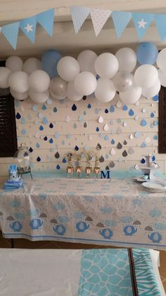 Baby shower rain drops more. baby shower rain drops more boy babyshower decorations Fiesta Baby Shower, Baby Shower Niño, Shower Bebe, Baby Shower Gender Reveal, Baby Shower Parties, Baby Shower Gifts, Cloud Baby Shower Theme, Rain Shower, Shower Party
