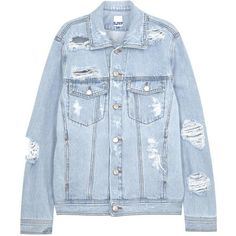 Womens Casual Jackets SJYP Pale Blue Ripped Denim Jacket (€130) ❤ liked on Polyvore featuring outerwear, jackets, coats, denim jackets, blue jackets, 100 leather jacket, pocket jacket, jean jacket and denim leather jacket