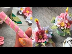 Easy diy episodio 3 My flowers are different tutorial come riciclare una. Dyi Crafts, Felt Crafts, Flower Tutorial, Diy Tutorial, Felt Flowers, Paper Flowers, Felt Ornaments Patterns, My Flower, Gift Wrapping