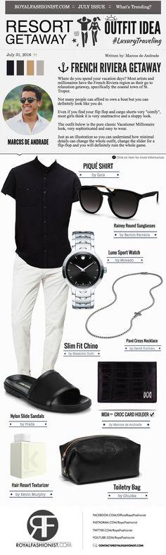 Resort Getaway Outfit Idea: Black Shirt, Chino Pants and Slider