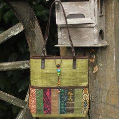 Hill Tribe Hemp Patterned Shoulder Bag from Thailand - Lime Rhythm | NOVICA