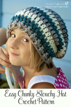 Crochet Pattern - A super cute and easy crochet slouchy hat pattern. Perfect…