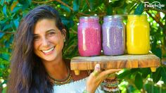 Kristina with her 3 FullyRaw Smoothies
