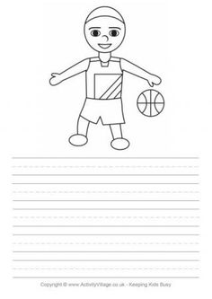 If your child is a fan of sports they will enjoy our large collection of sports word tracing worksheets, each of which includes a fun colouring page, too. Cool Coloring Pages, Free Printable Coloring Pages, Peach Basket, Handwriting Lines, Free Basketball, Bee Free, Summer Jobs, Tracing Worksheets, Black And White Drawing