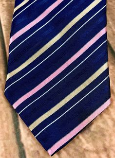 Kailong Handmade Tie Silk Blue With Pink gold silver Diagonal Striped mens Pink And Gold, The 100, Ties, Silver, Handmade, Blue, Ebay, Tie Dye Outfits, Neck Ties
