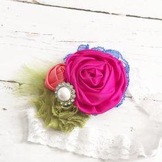 hot pink royal blue olive green coral satin chiffon lace headband-spring summer headband