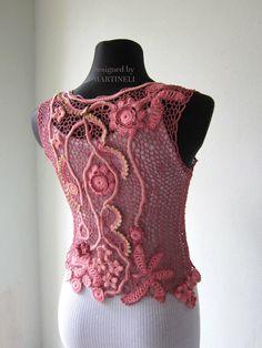 Pink Irish Crochet Blouse Freeform Crochet Sweater by MARTINELI
