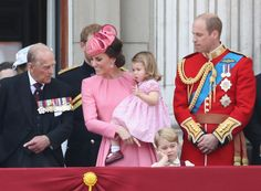 Prince Philip, Duke of Edinburgh, Catherine, Duchess of Cambridge, Princess Charlotte of Cambridge, Prince George of Cambridge and Prince William, Duke of Cambridge look out from the balcony of Buckingham Palace during the Trooping the Colour parade on June 17, 2017 in London, England.