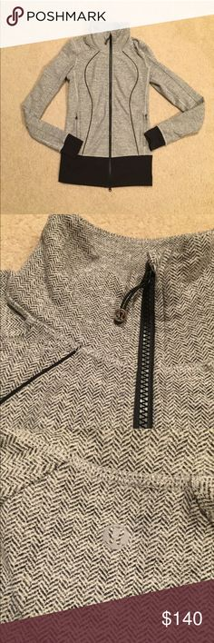 Lululemon ghost herringbone asana jacket Beautiful asana jacket in ghost herringbone. Bought on posh and didn't realize it's a longer style jacket. Just not for me. Pristine condition. Hard to find! Love the color. lululemon athletica Tops Sweatshirts & Hoodies