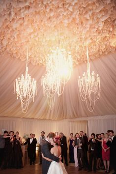 Amazing tent chandeliers with pearl strands